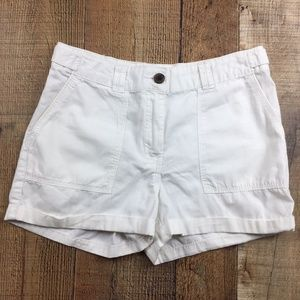 H&M White Cuffed Cotton Shorts